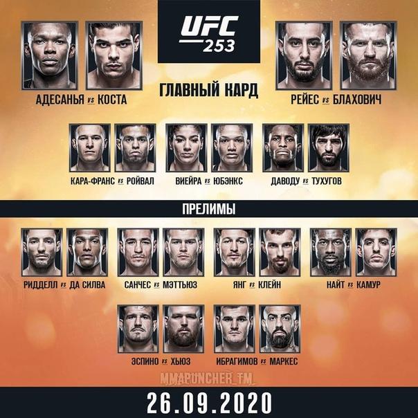 Кард UFC 253