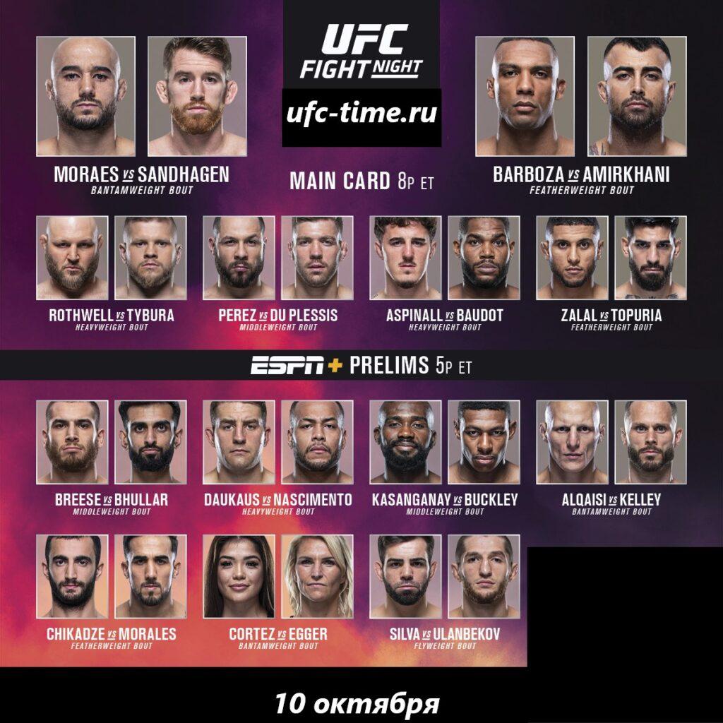 UFC Fight Night кард Мораес - Сэндхаген